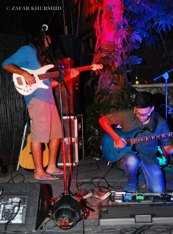 Left to Right: Amar Paney (Bass/Vocals), Sharan Subrahmanyam (Guitars)